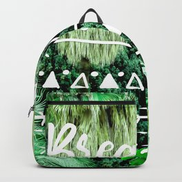 Modern typography breathe green tropical palm tree forest photography white boho geometric Backpack