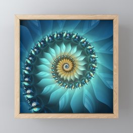 Mystical Gold and Blue Spiral Framed Mini Art Print