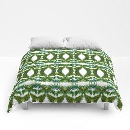 Palm Leaf Kaleidoscope (on white) #2 Comforters