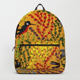 Hanging gardens, birds and flowers, kashmiri paper mache pattern Backpack