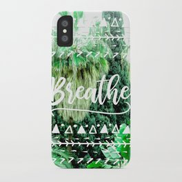 Modern typography breathe green tropical palm tree forest photography white boho geometric iPhone Case