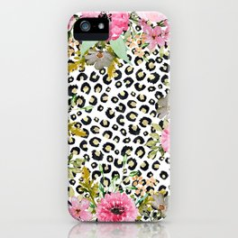 Elegant leopard print and floral design iPhone Case