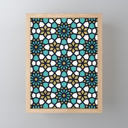 Persian Mosaic – Turquoise & Gold Palette Framed Mini Art Print