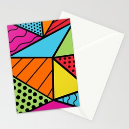90s Geometric Fashion Pattern Background Triangle Polka Dots Bright Colors Wavy Lines and Neons Stationery Cards