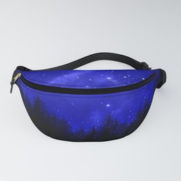 Blue Galaxy Forest Night Sky Fanny Pack