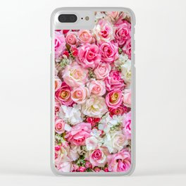 Pink & Red Roses Clear iPhone Case