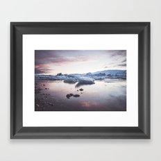 Sunset over Glacier Lagoon Framed Art Print