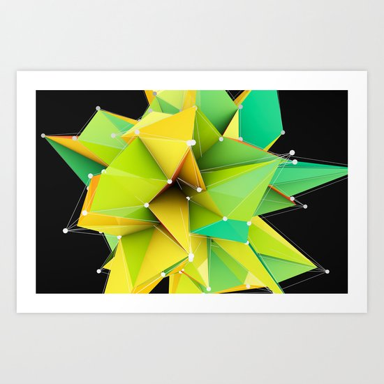 Polygons green Abstract Art Print