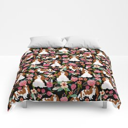 Blenheim Cavalier King Charles Spaniel dog breed florals pattern Comforters