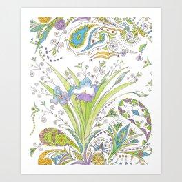 Whimsical Paisley Iris Art Print