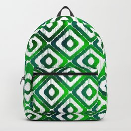 Emerald Watercolour Ikat Pattern Backpack