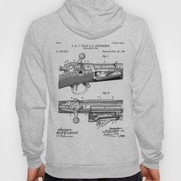 Bolt Action Rifle Patent - Repeating Receiver Art - Black And White Hoody