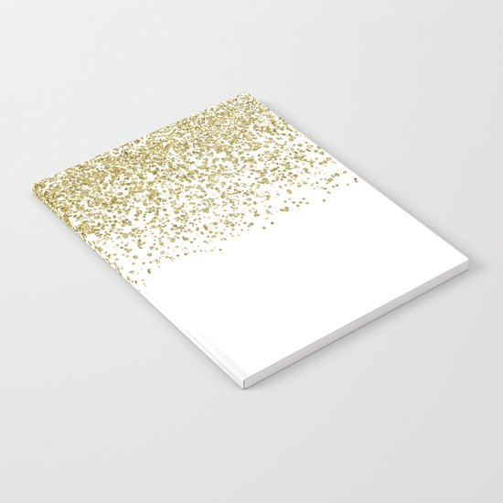 Sparkling gold glitter confetti on simple white background- Pattern #Society6 Notebook