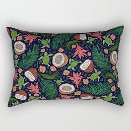 Tropical: Sea Turtles and Coconut Pattern Rectangular Pillow