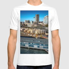 Seattle Space Needle and Aquarium Mens Fitted Tee MEDIUM White