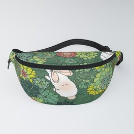 Rabbits in a Succulent Garden Fanny Pack