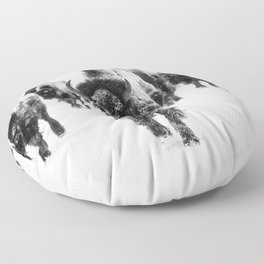 Bisons, black and white Floor Pillow