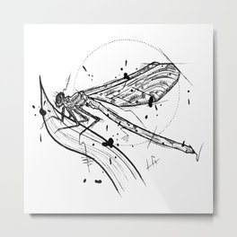 Dragonfly Handmade Drawing, Made in pencil and ink, Tattoo Sketch, Tattoo Flash, Blackwork Metal Print