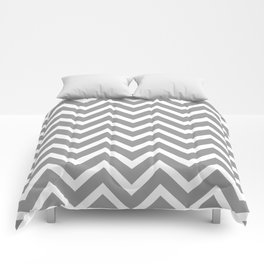 grey, white zig zag pattern design Comforters