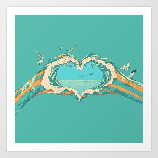 My Heart & The sea Art Print