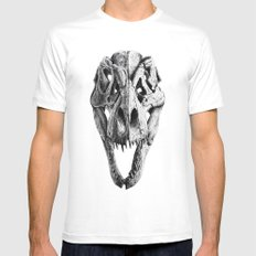 T-Rex Skull MEDIUM Mens Fitted Tee White