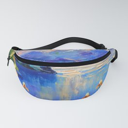 Flowers on the shore of a mountain lake Fanny Pack