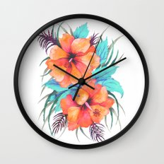 TROPICAL FLOWER {orange hibiscus}  Wall Clock