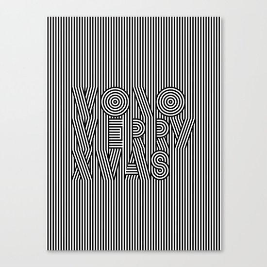 Mono Merry Xmas Canvas Print