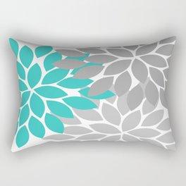 Flower Burst Turquoise Gray Dahlia Floral Pattern Rectangular Pillow