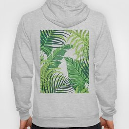 Green tropical leaves II Hoody