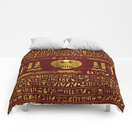 Golden Egyptian Scarab on red leather Comforters