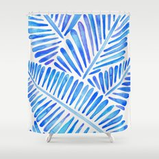 Tropical Banana Leaves – Blue Palette Shower Curtain