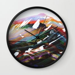 Abstract Mountains II Wall Clock