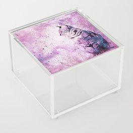 Pink Watercolor Cat Painting Acrylic Box