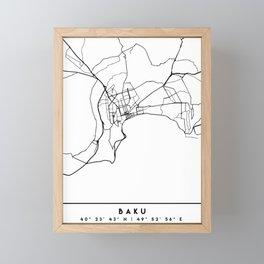 BAKU AZERBAIJAN BLACK CITY STREET MAP ART Framed Mini Art Print