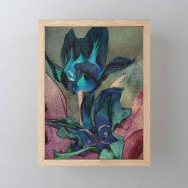 Vintage tulips (sapphire) Framed Mini Art Print