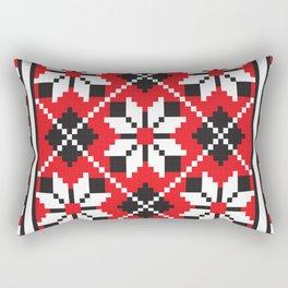 Slavik red, black and white floral cross stitch design pattern. Rectangular Pillow