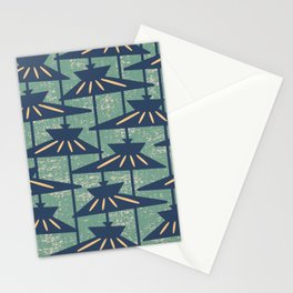 Mid Century Modern Pendant Lamp Composition Peacock Blue and Green Stationery Cards