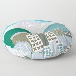 Portland, Oregon - Skyline Illustration by Loose Petals Floor Pillow
