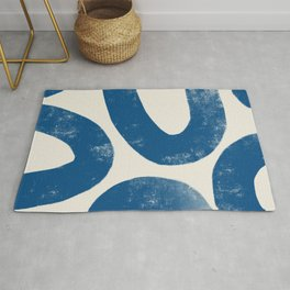 Blue Loops Abstract Art Rug