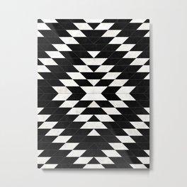 Urban Tribal Pattern No.14 - Aztec - Black Concrete Metal Print