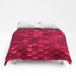 Ruby Red Mermaid Tail Scales Comforters