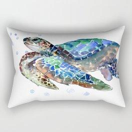 Sea Turtle, Green Blue, sea turtle under water, sky blue Rectangular Pillow