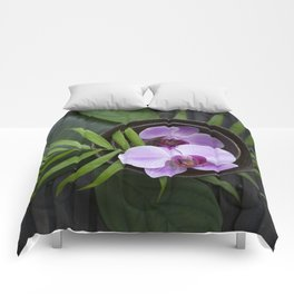 Zen Style Pink Orchids And Palm Leaf Comforters