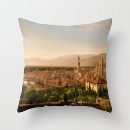 View of the Duomo and Florence, Italy by Thomas Cole Throw Pillow