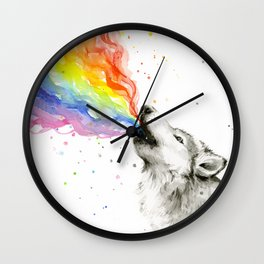 Wolf Howling Rainbow Watercolor Wall Clock