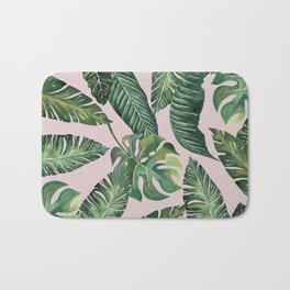 Jungle Leaves, Banana, Monstera Pink #society6 Bath Mat