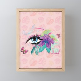 Blue eye with long eyelashes, flowers, musical notes and butterflies Framed Mini Art Print