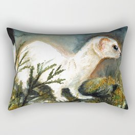 Winter stoat watercolor Rectangular Pillow
