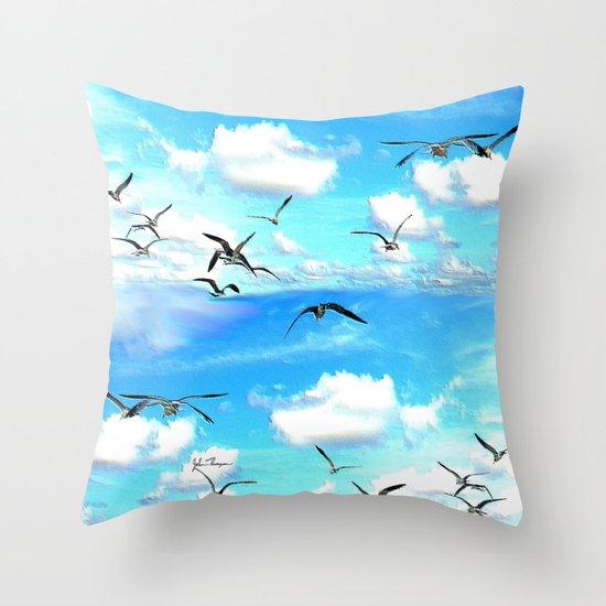 A flock of Seagulls Throw Pillow